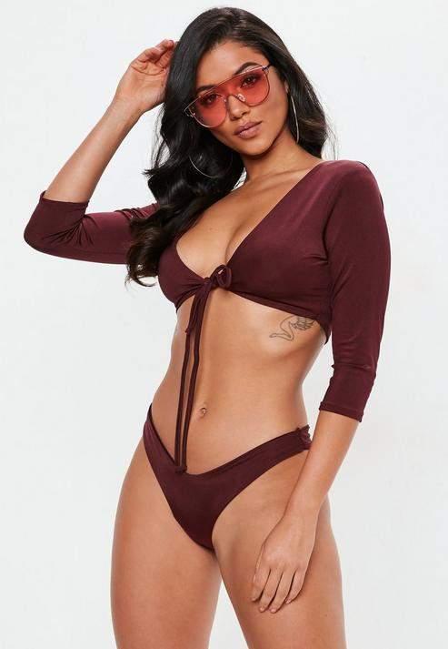 Burgundy Tie Front Long Sleeve Bikini Top, Burgundy