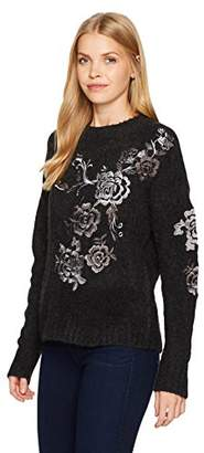 Blank NYC [BLANKNYC] Women's Floral Embroidered Sweater