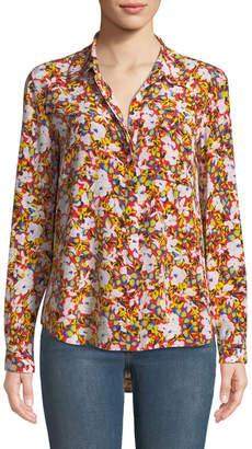 Diane von Furstenberg Silk Floral-Print Collar Blouse