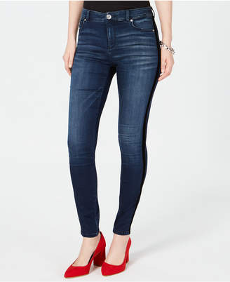 INC International Concepts I.N.C. High-Rise Velvet-Stripe Skinny Jeans, Created for Macy's