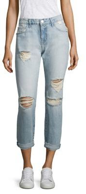 Current/Elliott The Fling Distressed Boyfriend Jeans $258 thestylecure.com