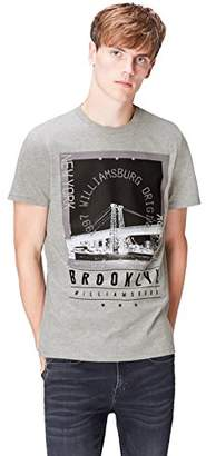 FIND Men's T-Shirt in Retro Style Brooklyn Print Crew Neck