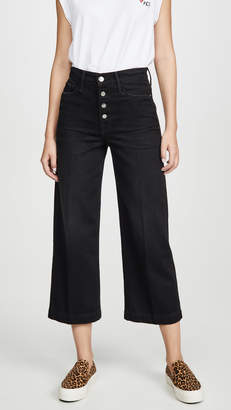 Frame Ali Wide Crop Jeans with Exposed Buttons