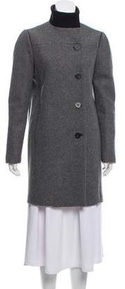 Narciso Rodriguez Leather-Trimmed Wool Coat