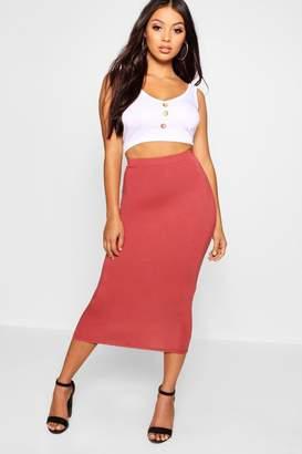 boohoo Petite Jersey Basic Midi Skirt
