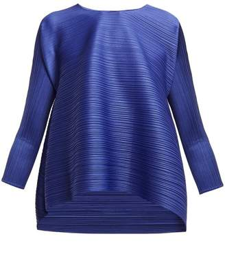 Pleats Please Issey Miyake Stratum Bounce Pleated Top - Womens - Blue