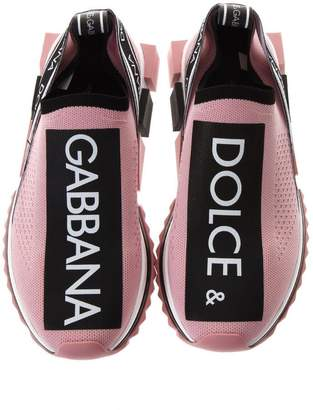 Dolce & Gabbana Pink & Black Sorrento Sneakers In Nylon