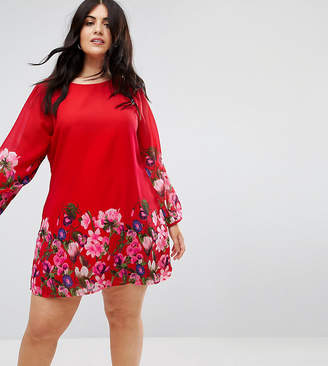 Yumi Plus Long Sleeve Shift Dress In Floral Border Print