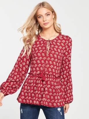 Very Crinkle Peasant Tunic - Red Print
