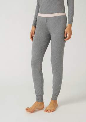 Emporio Armani Stretch Cotton Jersey Leggings With Logo Waistband
