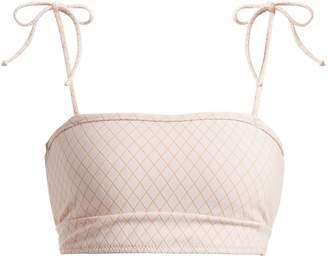 MADE BY DAWN Arrow tie-shoulder bandeau bikini top