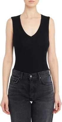 Getting Back To Square One Neoprene V-Neck Bodysuit in Black