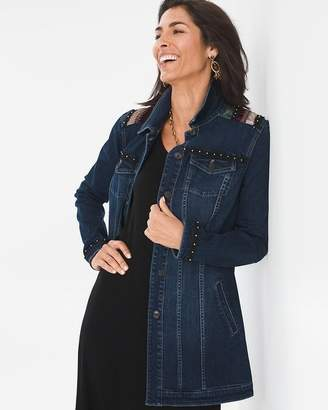 Chico's Chicos Long Embroidered Denim Jacket
