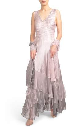 Komarov Beaded Charmeuse & Chiffon Gown with Wrap