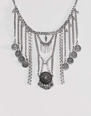 Asos Statement Crystal And Chain Burnished Disc Necklace
