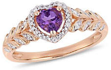 CONCERTO 10K Rose Gold and Amethyst Halo Heart Ring with 0.06 TCW Diamond