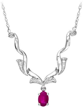 Naava Women's 9 ct White Gold Diamond and Ruby Necklace
