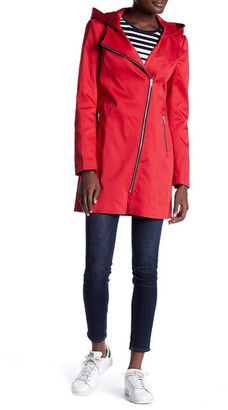 Soia & Kyo Asymmetric Zip Hooded Raincoat $295 thestylecure.com