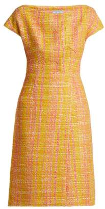 Prada Tweed Boucle Midi Dress - Womens - Yellow Multi