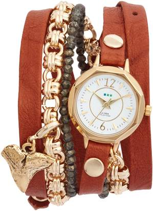 La Mer Del Mar Leather & Chain Wrap Watch, 35mm x 20mm