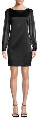 Elie Tahari Jilly Boat-Neck Sheer Long-Sleeve Satin Sheath Dress