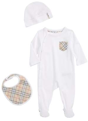 Burberry Jaydin Footie, Bib & Hat Set