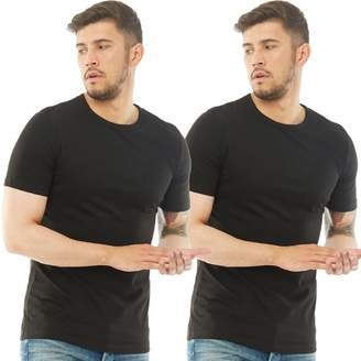 Jack and Jones Mens Basic Crew Two Pack T-Shirt Black