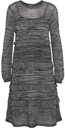 M Missoni Ruffled Crochet-Knit Wool Angora And Alpaca-Blend Dress