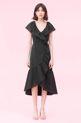 Rebecca Taylor Birdseye Dot Clip Wrap Dres