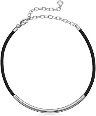 Anne Klein and Black Leather Choker Necklace