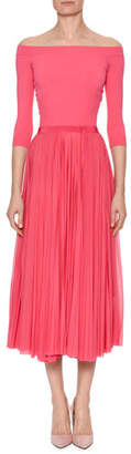 Alexander McQueen Off-the-Shoulder Belted Plisse Pleated Tea-Length Dress