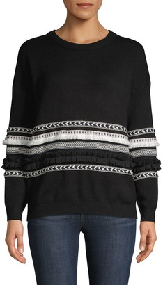Allison New York Roundneck Trimmed Sweater