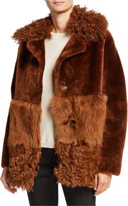Nour Hammour Patchwork Shearling Coat w/ Mongolian Fur