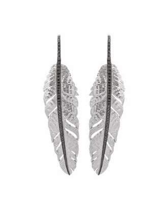 Michael Aram Large Drop Feather Earrings with Black Diamonds