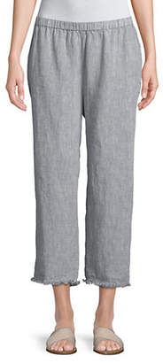 Eileen Fisher Cropped Raw Edge Linen Pants