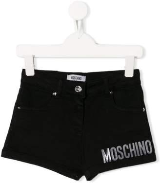 Moschino Kids logo printed denim shorts