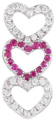Pendant 18K Diamond & Ruby Heart Drop Pendant