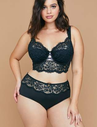 Mid-Waist Cheeky Panty with Lace & Criss-Cross Back