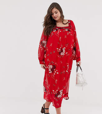 3d7f7e00954 Asos DESIGN Curve floaty square neck maxi dress with piping in floral print