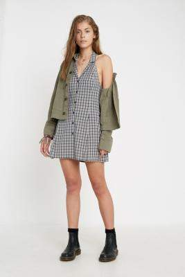 Urban Renewal Vintage Inspired By Vintage Kaya Checked Halter Dress - grey S at Urban Outfitters