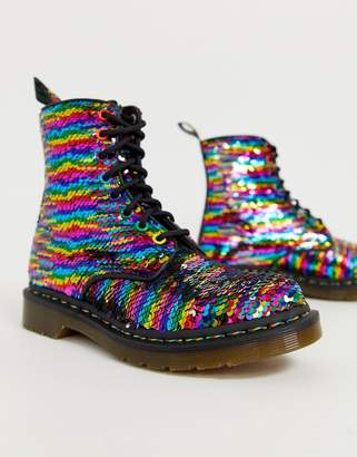 Dr. Martens 1460 Pascal boots in rainbow sequin