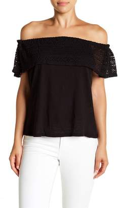 Lucky Brand Crochet Off the Shoulder Top