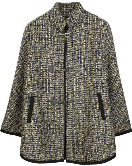 Lela Rose Wool-blend tweed cape