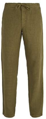 120% Lino Drawstring Waist Straight Leg Linen Trousers - Mens - Khaki