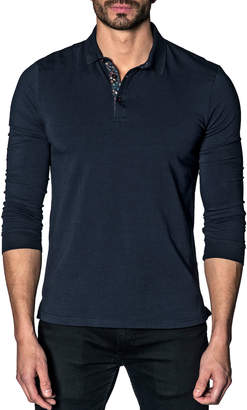 Jared Lang Men's Long-Sleeve Floral-Placket Polo Shirt