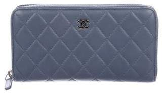 Chanel Quilted Zip-Around Wallet