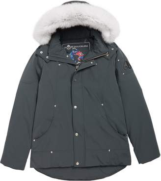 Moose Knuckles Hooded Parka with Genuine Fox Fur Trim
