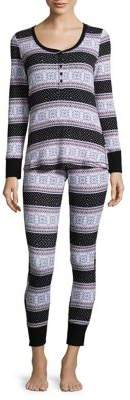 Lord & Taylor 2-Piece Thermal Henley Pajamas with Pouch