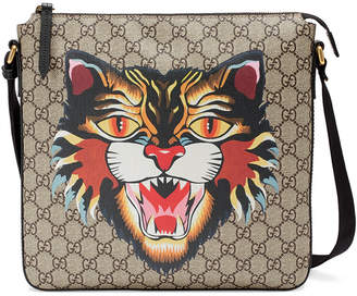 Gucci Angry Cat print GG Supreme flat messenger