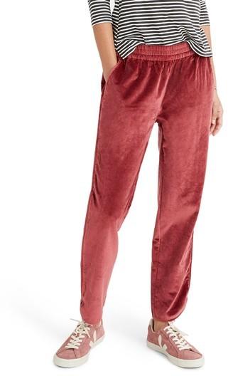 Women's Madewell Velvet Track Pants